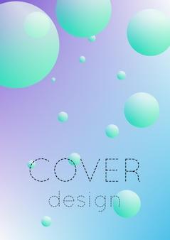 둥근 모양으로 유체를 덮으십시오. 홀로그램 배경에 그라데이션 원입니다. 현수막, 배너, 전단지, 보고서, 브로셔를 위한 현대적인 힙스터 템플릿입니다. 생생한 네온 컬러의 최소한의 커버 플루이드.