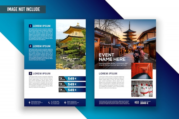 Cover flyer business traveling template premium vector design