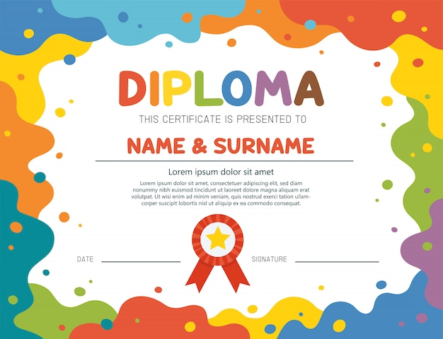 Cover or flyer template with abstract color paint texture. art kids. painting poster design. template for certificate kids diploma