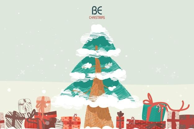 クリスマスと新年のお祝いのイラストのカバー画像クリスマスツリーのイラスト。