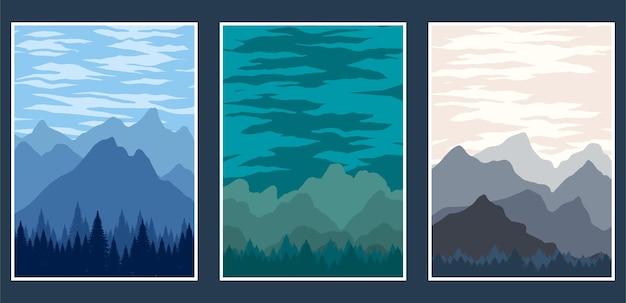 Обложка пейзаж горы иллюстрации