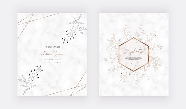 Cover marble cards with golden geometric polygonal lines frames and black leaves.