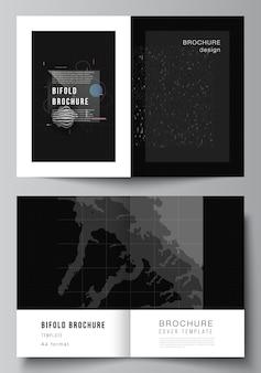 Cover mockups templates for bifold brochure flyer design technology black color science background