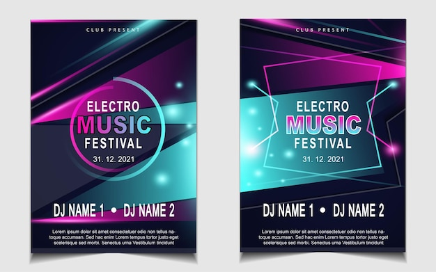 Cover music poster flyer design background with colorful light effect