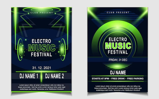 Cover music poster flyer design background with green light effect