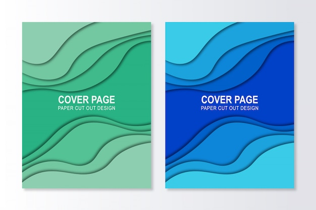 Cover page background gradient paper cutout