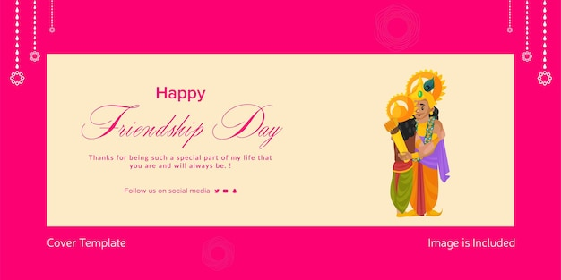 Cover page design of happy friendship day cartoon style illustration