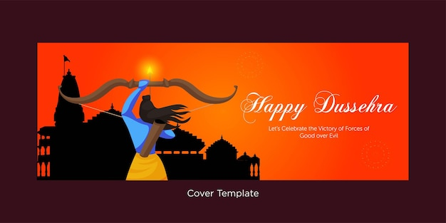 Cover page of happy dussehra cartoon style template