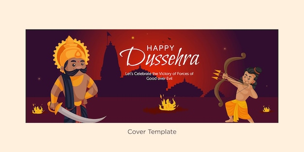 Cover page of happy dussehra indian festival cartoon style template