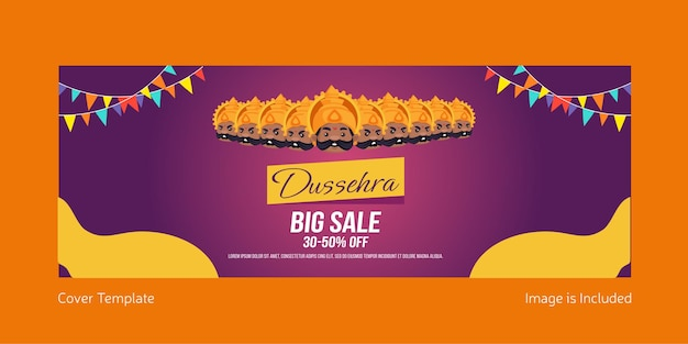 Cover page of indian festival dussehra big sale offer template