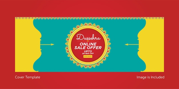 Cover page of indian festival dussehra online sale offer template