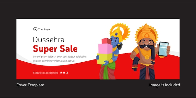 Cover page of indian festival dussehra super sale template