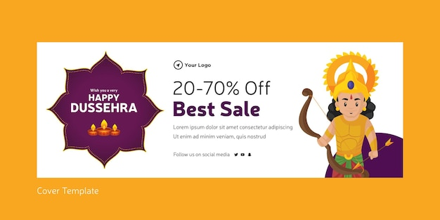 Cover page of indian festival happy dussehra best sale template