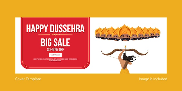 Cover page of indian festival happy dussehra big sale template