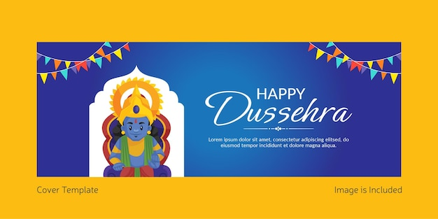 Cover page of indian festival happy dussehra cartoon style template