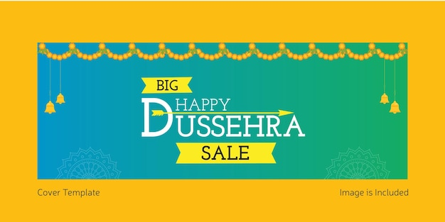 Cover page of indian festival happy dussehra sale template