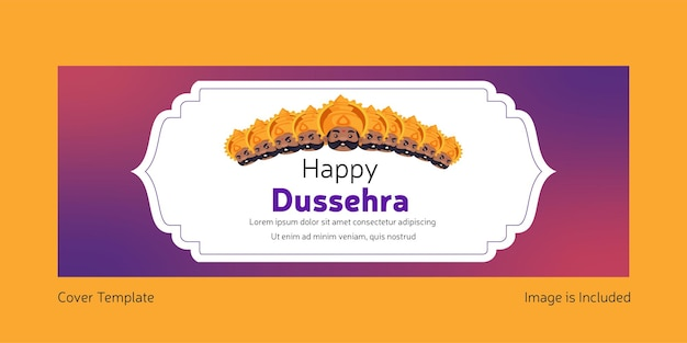 Cover page of indian festival happy dussehra template