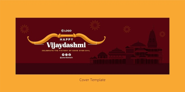 Cover page of indian festival happy vijaydashmi template
