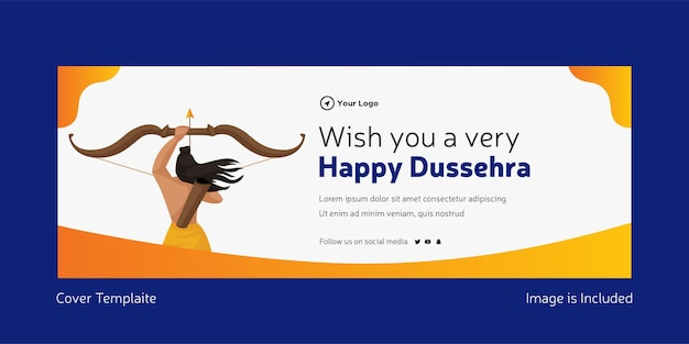 Cover page of indian festival wish you a very dussehra template