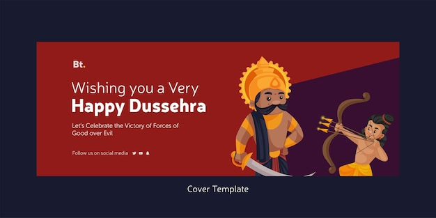 Cover page of indian festival wish you a very happy dussehra cartoon style template