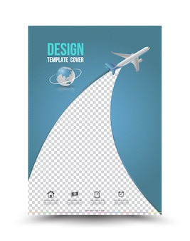 Cover page layout template with paper airplane.