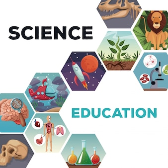 Cover page science and education with icons world evolution