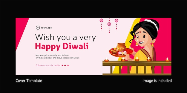 Cover page of wish you a very happy diwali template