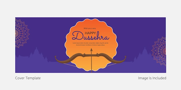 Cover page of wish you a very happy dussehra template