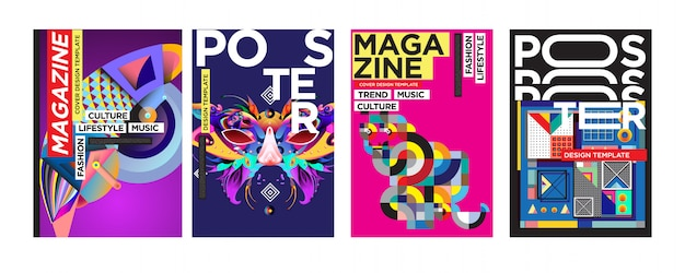 Cover and poster design template for magazine