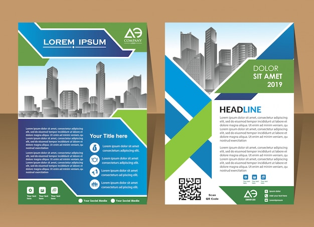 Cover presentation geometric background layout in a4 size
