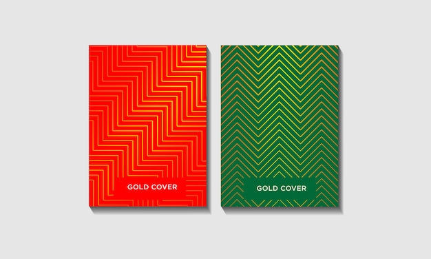 Cover in red and green with abstract geometric lines set