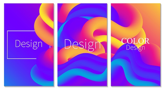 Cover set fluid flow color poster 3d wave abstract background.