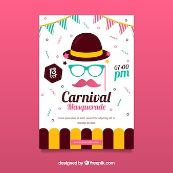 Cover template for carnival with hipster concept