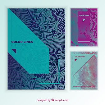 Cover template collection with colorful lines