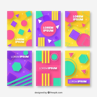 Cover template collection with geometric design