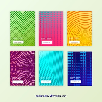 Cover template collection with halftone patterns