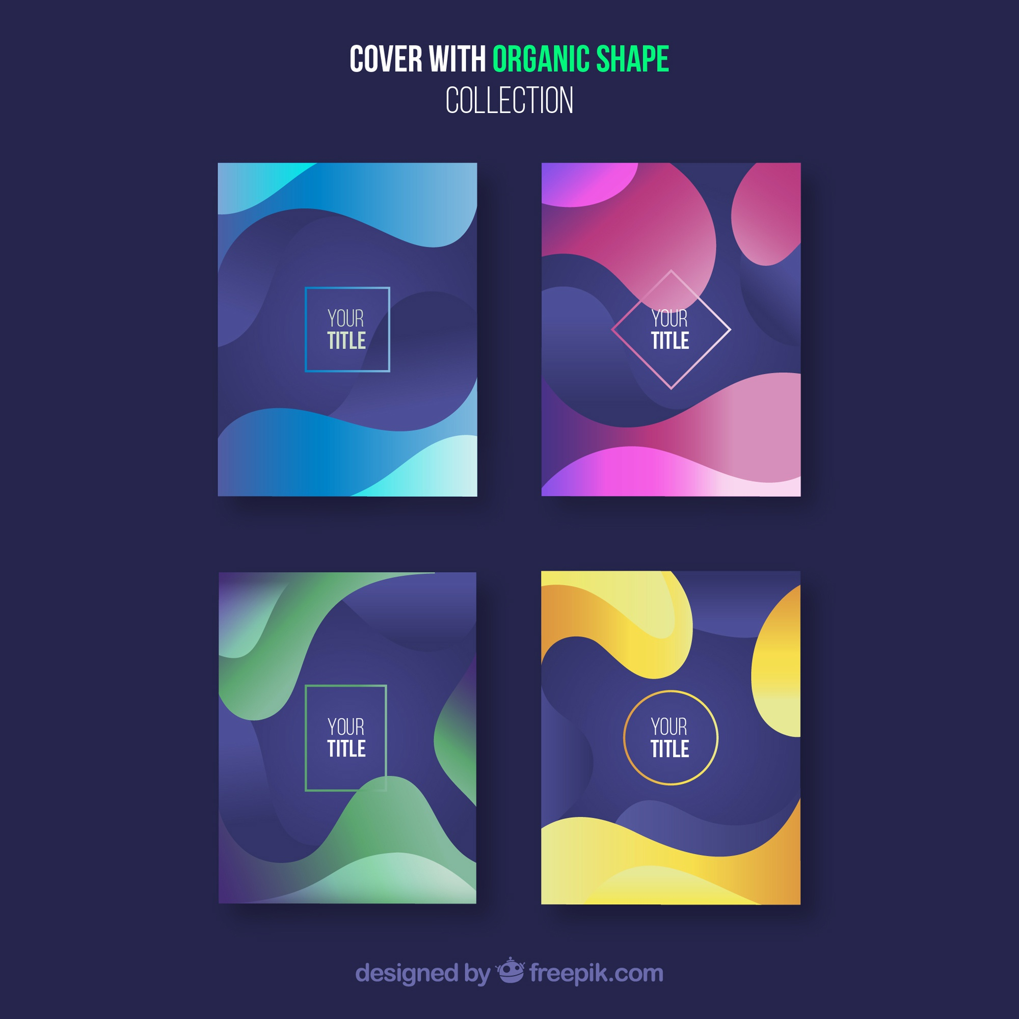 Cover template collection with organic shapes