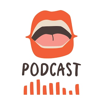Cover template for podcast show. open speaking mouth with red lips. vector trend design.