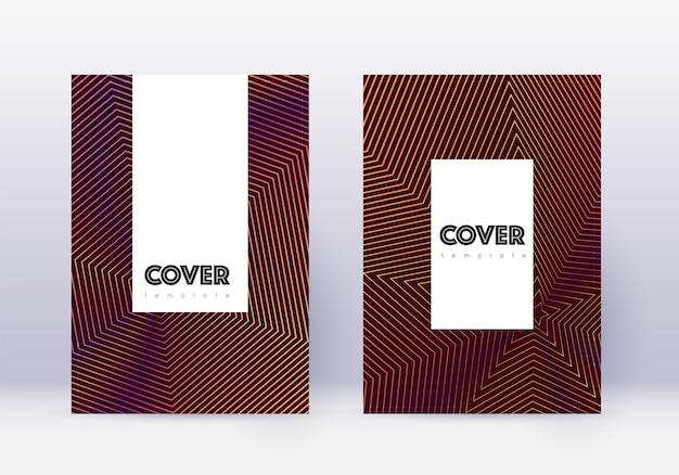 Набор шаблонов обложки. оранжевые абстрактные линии на винно-красном фоне.