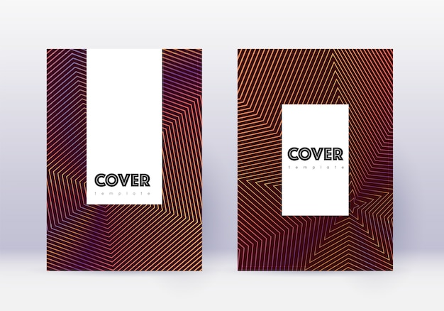 Cover template set. orange abstract lines on wine red background.