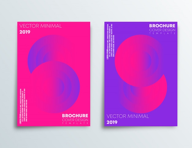 Cover template set with abstract design and gradient pink and purple