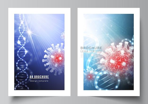 Cover template with 3d illustration of coronavirus rna. covid-19, coronavirus infection.