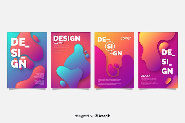 Cover template with abstract design set