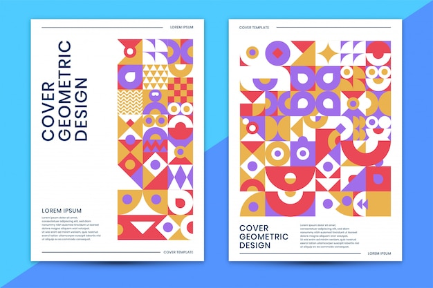 Cover template with abstract geometric  colorful