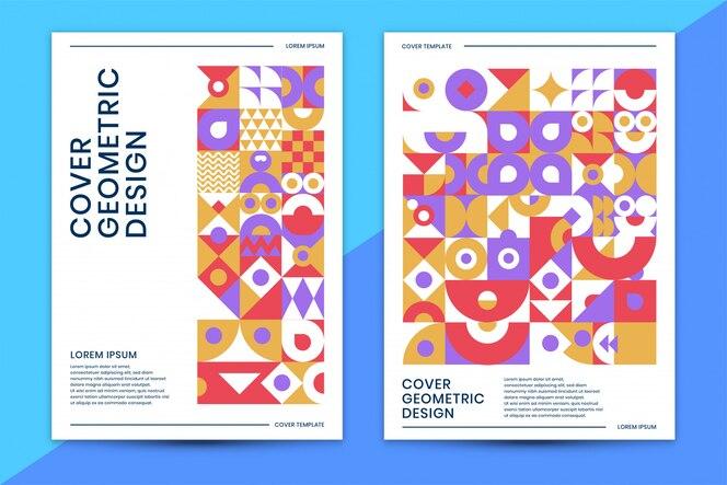 Modello di copertina con colorato geometrico astratto