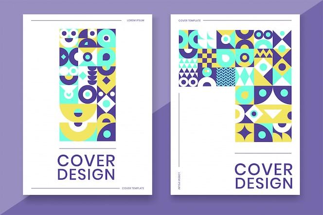 Modello di copertina con colore colorato dal design geometrico astratto