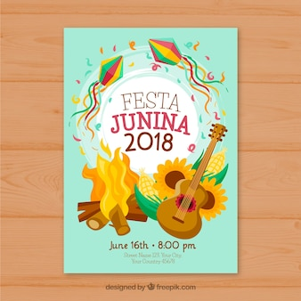Cover template with bonfire for festa junina