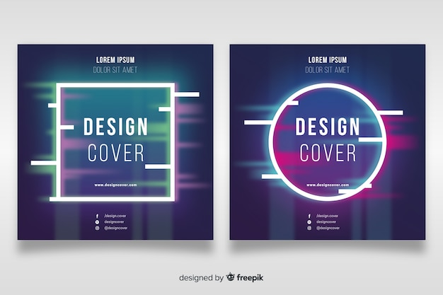 Cover template with colorful glitch effect set