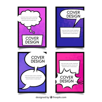 Cover template with comic style