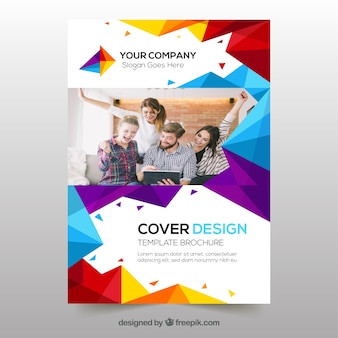 Cover template with geometric design and photo
